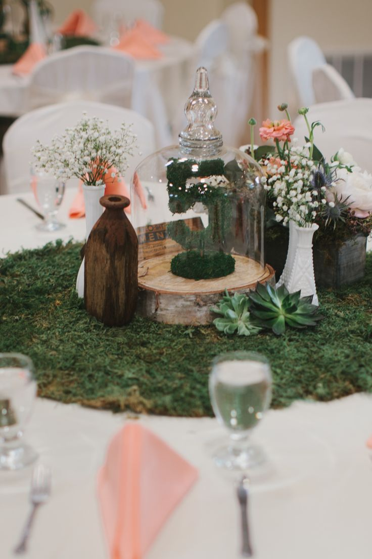 Rustic Peach And Green Farm Wedding Centerpieces
