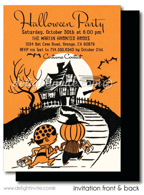 Kid Friendly Vintage Halloween Invitations Printed Party Invites For Children Haunted House