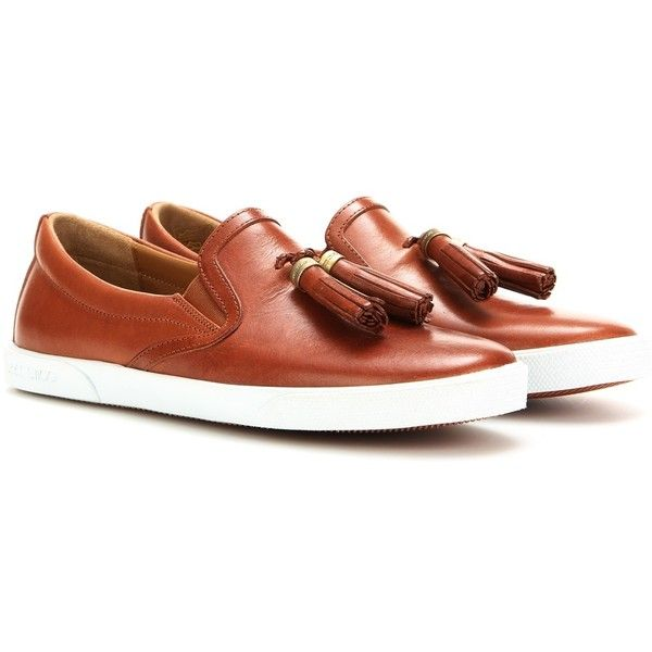 Jimmy Choo Dale Embellished Leather Slip-on Sneakers ($485) ❤ liked on Polyvore featuring shoes, sneakers, brown, leather trainers, brown shoes, leather slip on sneakers, leather shoes and brown leather shoes