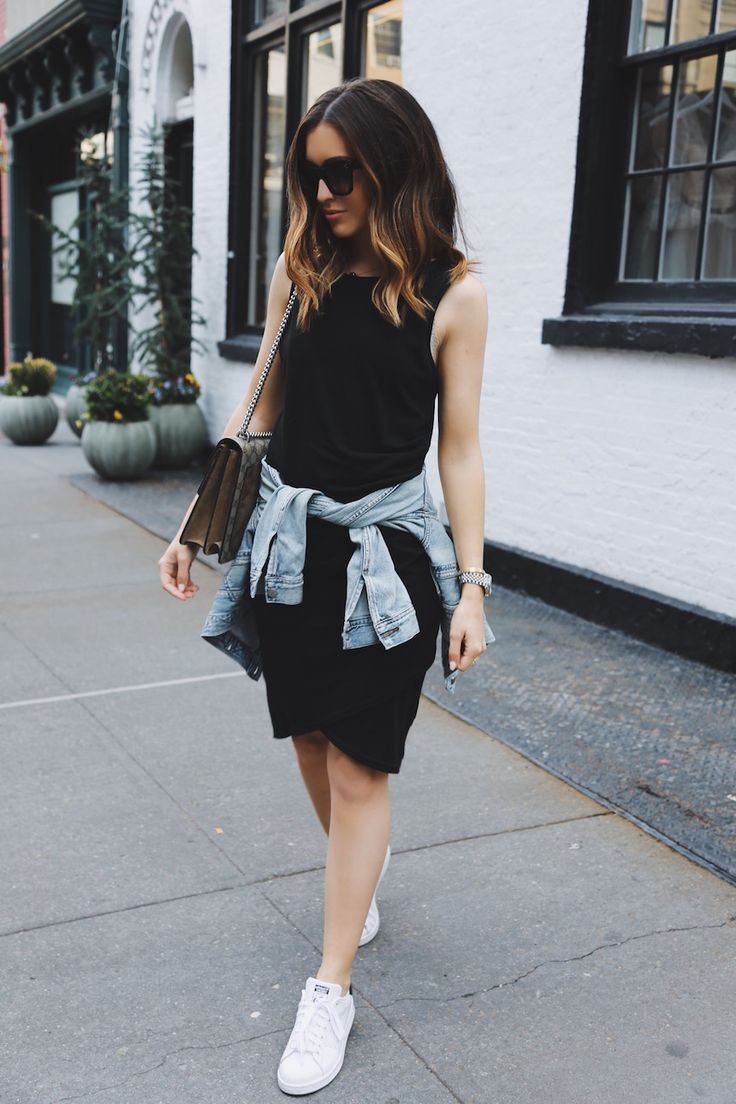 Black dress with adidas shoes - Two Ways To Wear A Dress This Summer