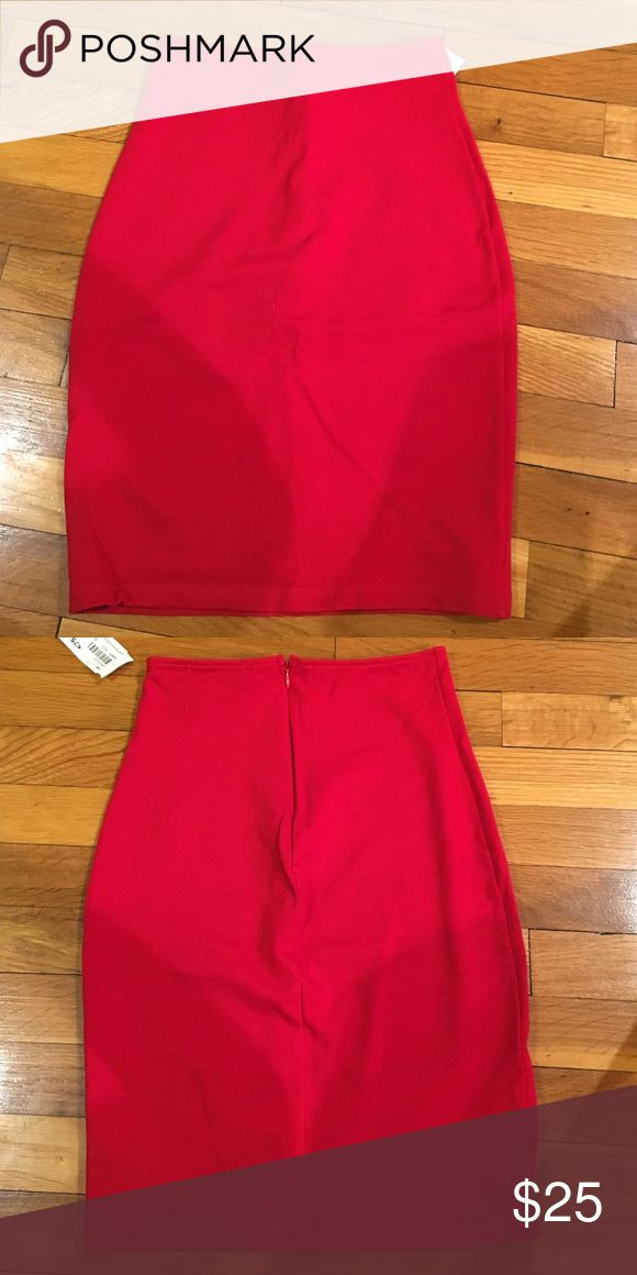 Red Pencil Skirt Red pencil skirt with zipper on the back. New with tags. Never worn. Skirts Pencil