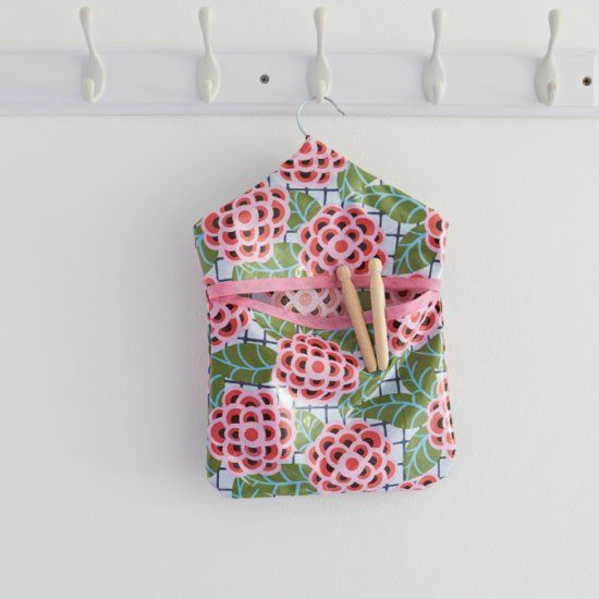 Modern vintage peg bag sewing pattern - brighten up your laundry day with this easy sewing project