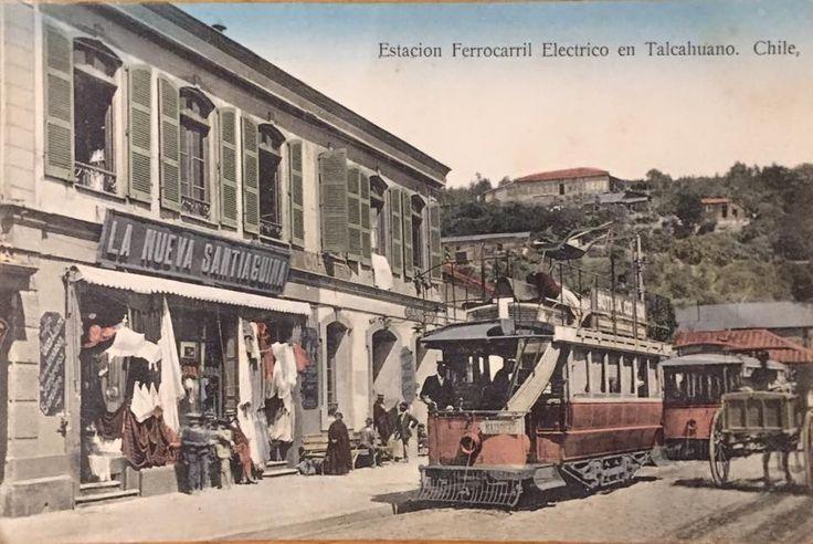 Bella postal de la estación de ferrocarril eléctrico en Talcahuano, c1910. Vía: Postales y fotos antiguas de provincias de Chile.