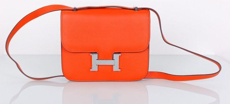 Сумка Hermes Constance кожаная оранжевая с серебряной фурнитурой. Размер 23х18х7см #19274
