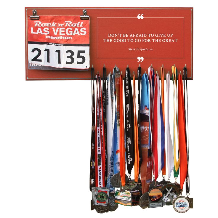 Don't Be Afraid To Give Up The Good To Go For The Great- Steve Prefontaine - Medals and Bib Hanger, Holder, Display