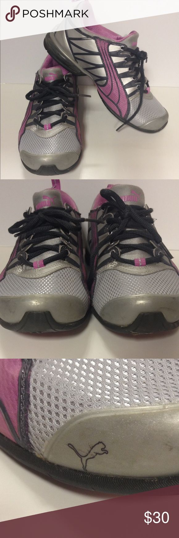 Puma tennis shoes gray pink size 6 1/2 Good clean used condition.  Size 6 1/2 Puma Shoes Athletic Shoes