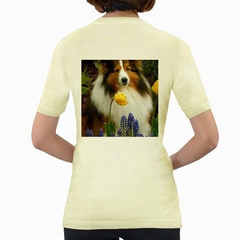 Shetland+Sheepdog+In+Flowers+Women's+Yellow+T-Shirt
