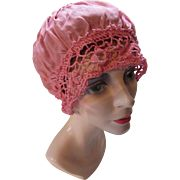 Flapper Style Boudoir Cap in Savannah Rose Silky Fabric and Crochet Lace