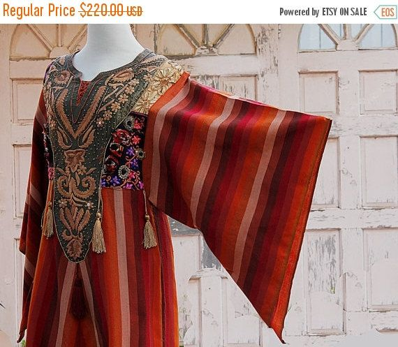 SALE 30% 70 Vintage galabya orange brown by YasminEthnicJewelry