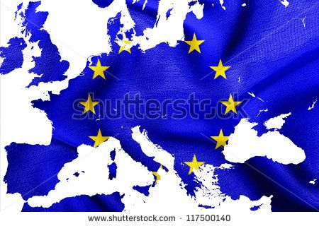 Map of European Union with flag of EU, isolated on white