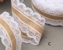 10m Natural Jute Burlap Hessian Lace Ribbon Roll+White Lace Vintage Wedding Decoration Party Christmas Crafts Decorative AA8052(China (Mainland))