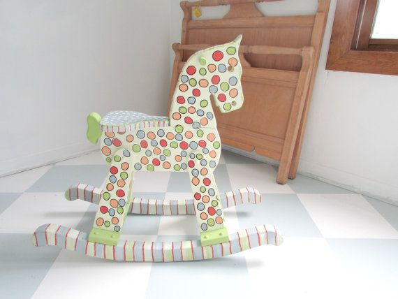 Reserved Order for Bree Painted Wooden Rocking Horse, Hand Painted Rocking Horse