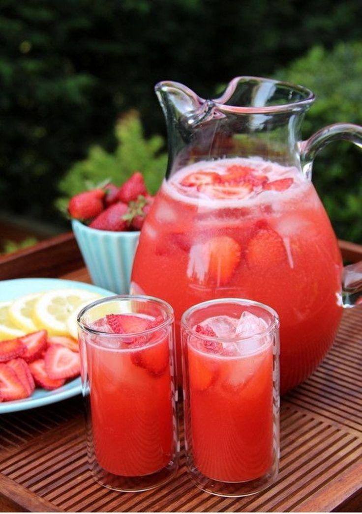 Homemade strawberry lemonade, made in the blender using lemons, strawberries and honey. No processed sugar!