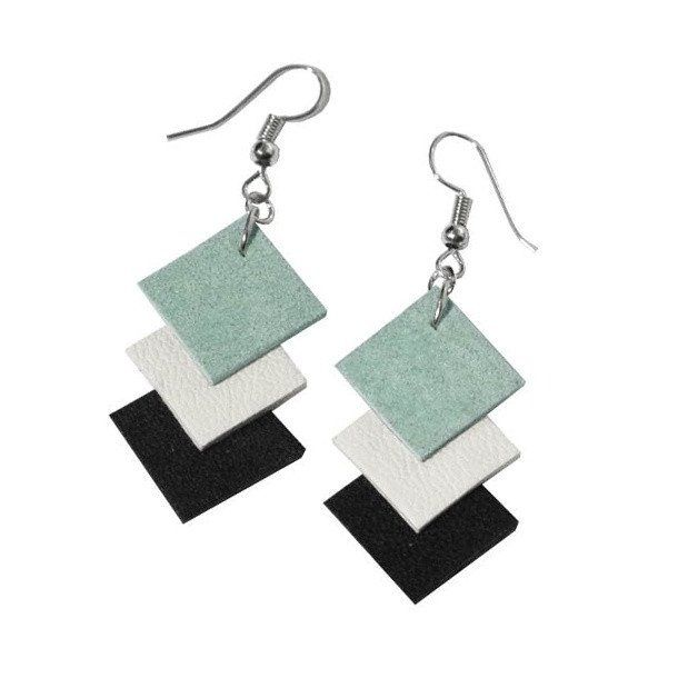 Recycled Leather Mint Green, Black and White Earrings. Upcycled modern handmade jewellery and DIY accessories.