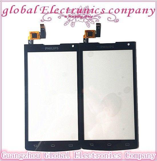 """Nuevo 4.5 """"de alta calidad de color negro para la pantalla táctil de cristal digitalizador para xenium philips s388 cts388 teléfono lente del panel de tacto"""