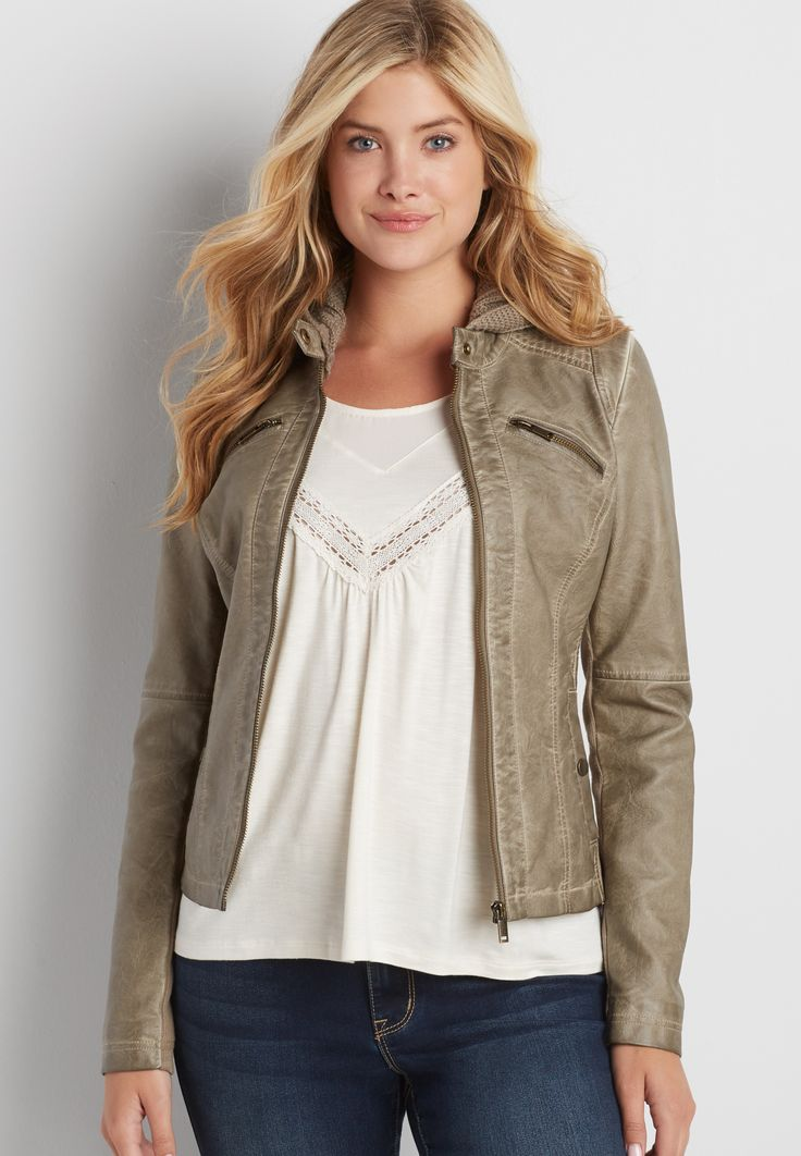 faux leather scuba jacket with knit hood
