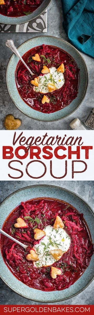 Simple vegetarian borscht soup - incredibly vibrant and unbelievably delicious. Serve with sour cream, fresh dill and puff pastry hearts ❤️   easily made vegan too