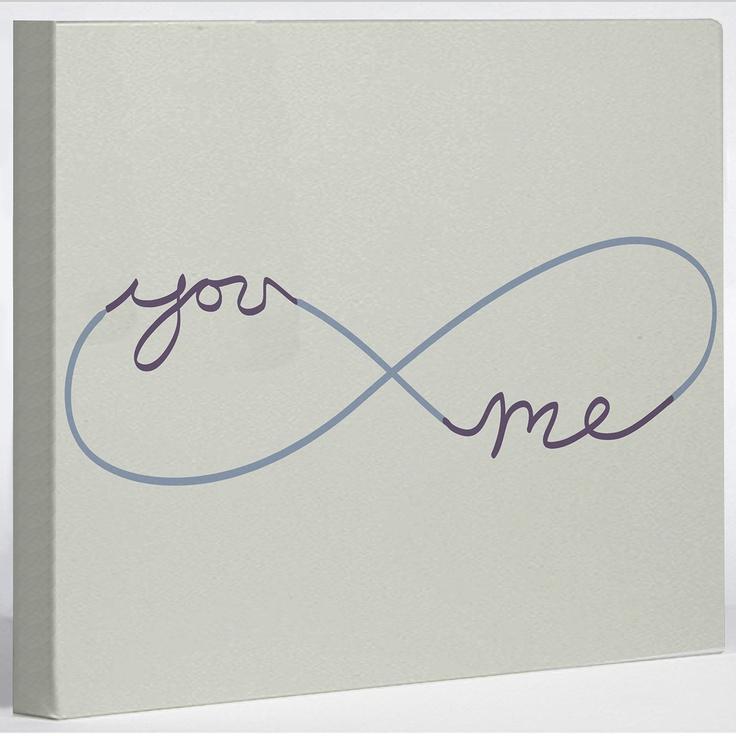 Infinite You & Me Canvas *love* #wall_art #word_art #infinity #love #romance #infinity #couples #art #infinity