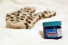 Shhhhh... Bedtime Cough Relief Remedy in one simple step, one simple household item - Vick's Vapor Rub on the feet will help prevent soar throat // coughing overnight that won't let you fall asleep. You won't wake up with that dreadful morning cough that needs to be broken up, either! Swear by this. via thebeetique.blogspot.com