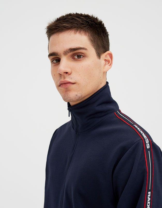 Pull&Bear - homme - nouveautés - veste jogging bande latérale - bleu marine - 05593592-V2018