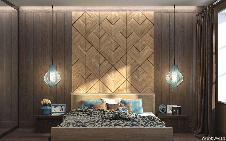 Chambre avec des murs texture bois