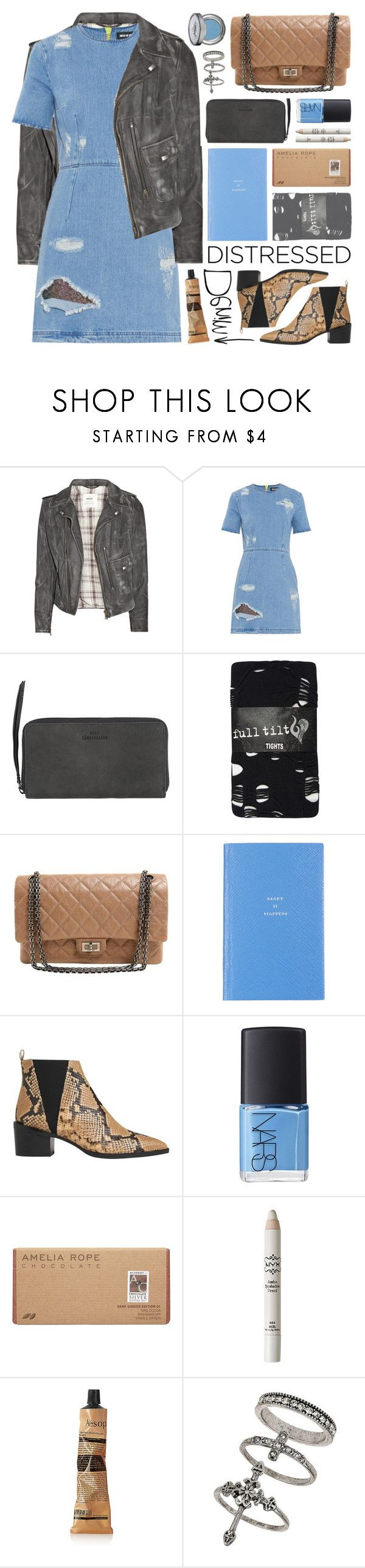 """true blue: distressed denim"" by jesuisunlapin ❤ liked on Polyvore featuring M.i.h Jeans, House of Holland, BeckSöndergaard, Full Tilt, Chanel, Smythson, Whistles, NARS Cosmetics, Amelia Rose and NYX"
