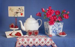 Обои гвоздики, День Святого Валентина, сердца, натюрморт, день влюбленных, конфеты, 14 февраля, открытка, стиль, чайник
