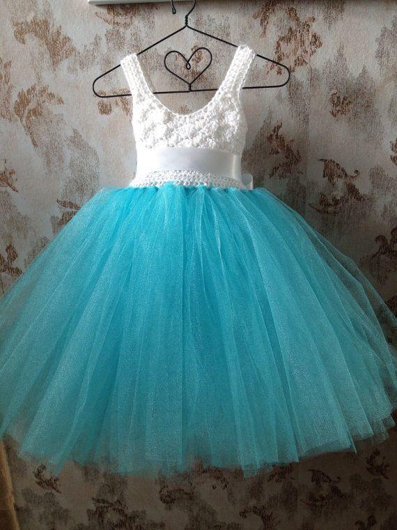 Aqua blue and white empire flower girl tutu dress with por Qt2t
