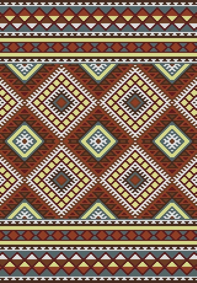 PATRON PUNTO CRUZ (Foto del Bordado Virtual) Bajada de Cama Rombos y Grecas Para bordar con Lanas. 160 puntos de ancho 230 puntos de largo. Utiliza 7 colores http://puntocruzandino.weebly.com