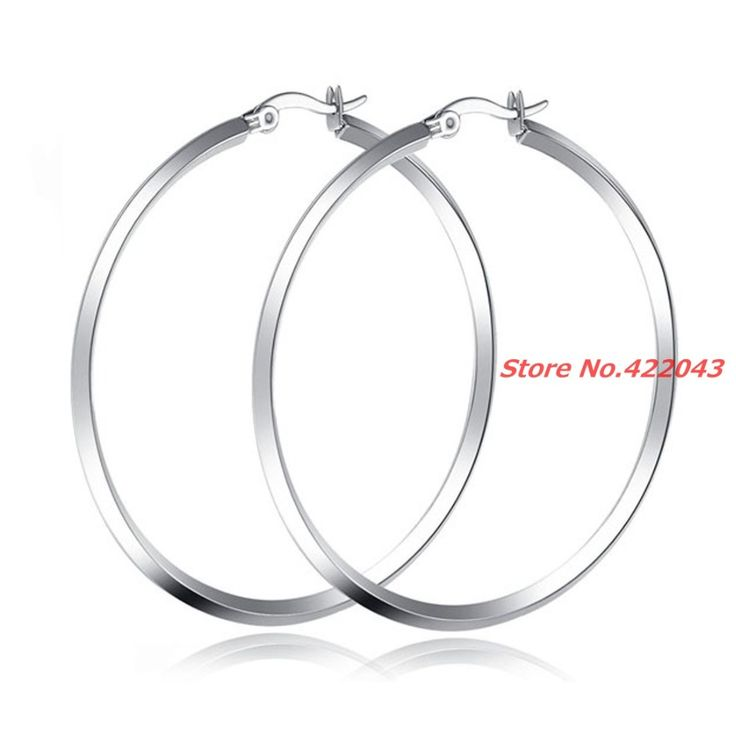50*50mm New Silver 316L Stainless Steel Earrings Women's Gril's Big Hoop Earrings Party Rock Gift, wholesale factory price