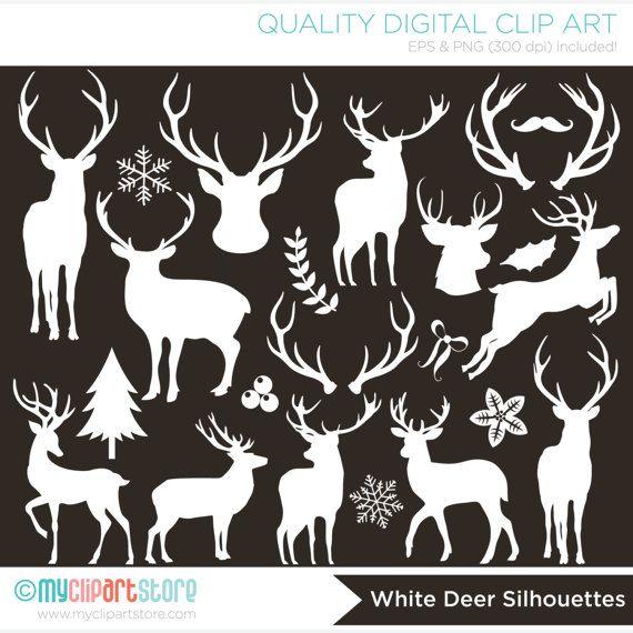 Digital Stamps  Christmas / Reindeer Silhouettes deer
