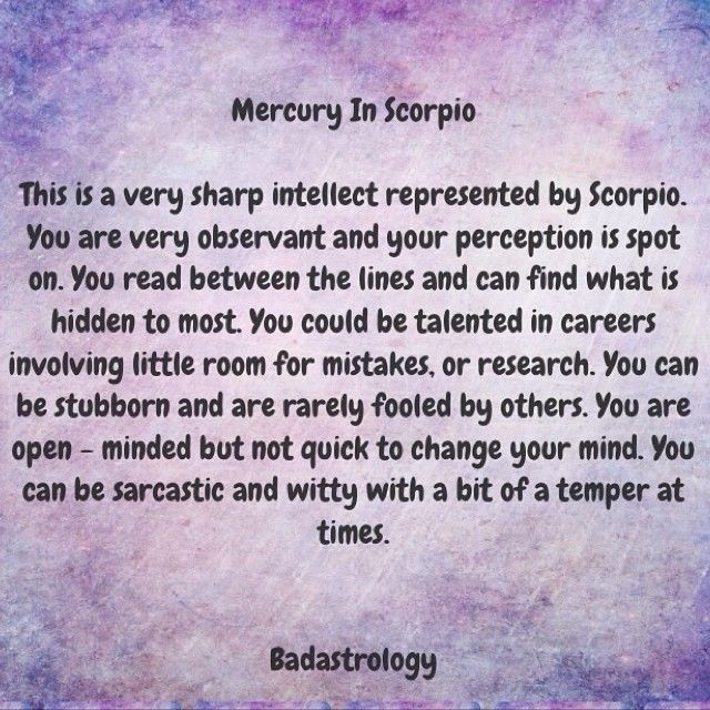 Scorpio ♏ || Mercury in Scorpio