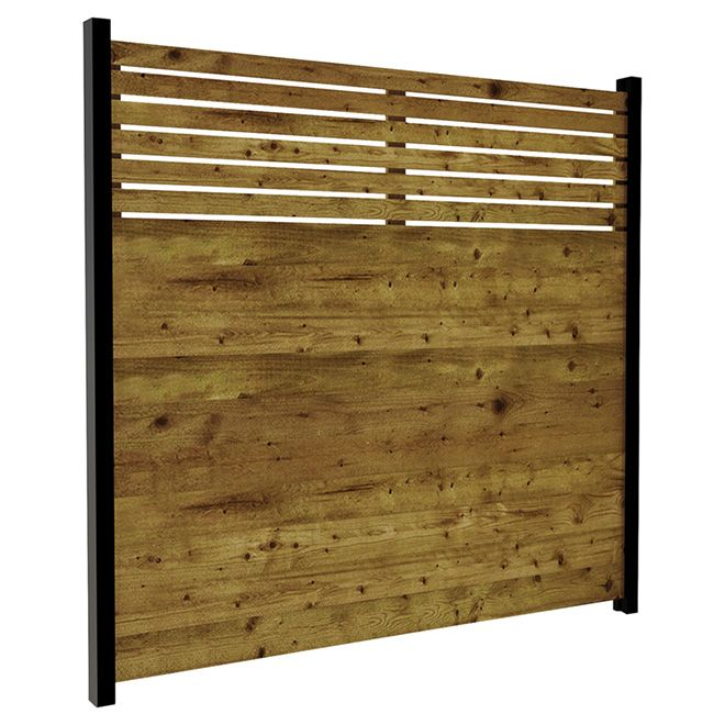 Panneau de clôture, 6' x 6', contemporain, bois traité, brun