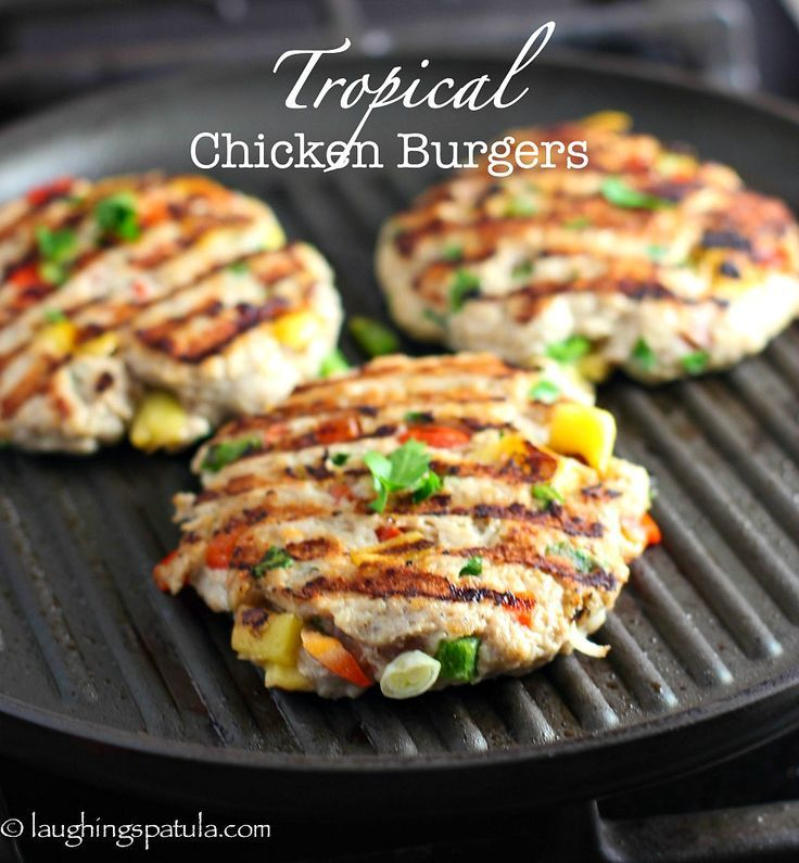 Chopped mangos, jalapeño, peppers and onions make this ground chicken burger shine!