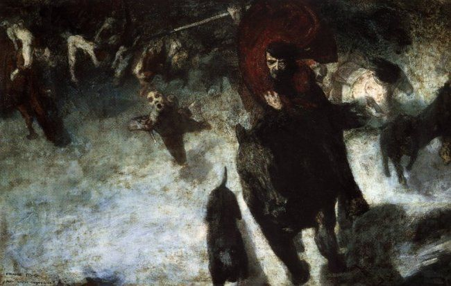 It depicts the teutonic legend of Wotan the Mad Hunter, a personification of death and destruction in Germanic mythology. Scholars have noticed the uncanny resemblance to Adolf Hitler: the forelock over his left temple, the brooding eyes, large nose and the trademark little mustache. It is curious to note that Von Stuck painted this in 1889, the year Hitler was born. Hitler also bought The Sin, which he hung in his apartment in Munich. For more on Stuck, visit us at…