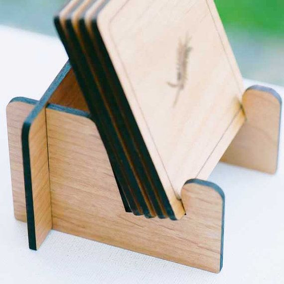 Coaster Holder Stand Laser Cut Wood by StylineDesigns on Etsy