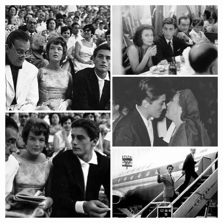 Alain Delon in Greece - Luchino Visconti, Romy Schneider and Alain Delon. They came to watch Katina Paxinou performing at the theatre of Epidaurus, Greece 1960