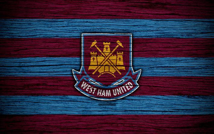 Download wallpapers West Ham United, 4k, Premier League, logo, England, wooden texture, FC West Ham United, soccer, West Ham, football, West Ham United FC