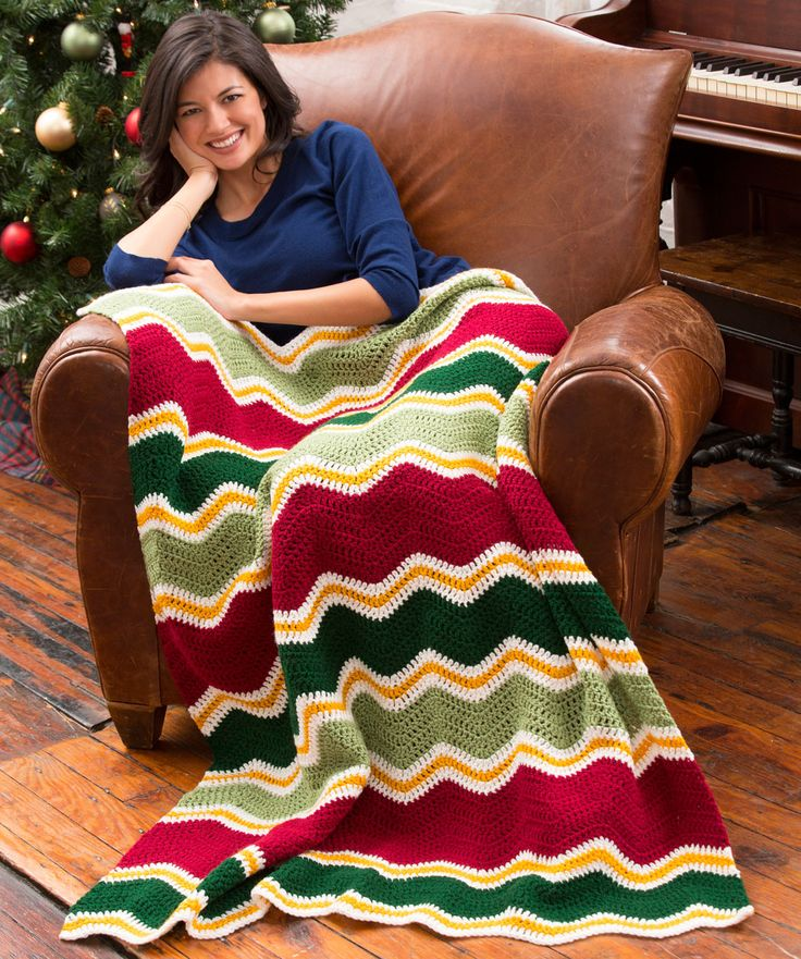 Holiday Chevron Throw Free Crochet Pattern from Red Heart Yarns
