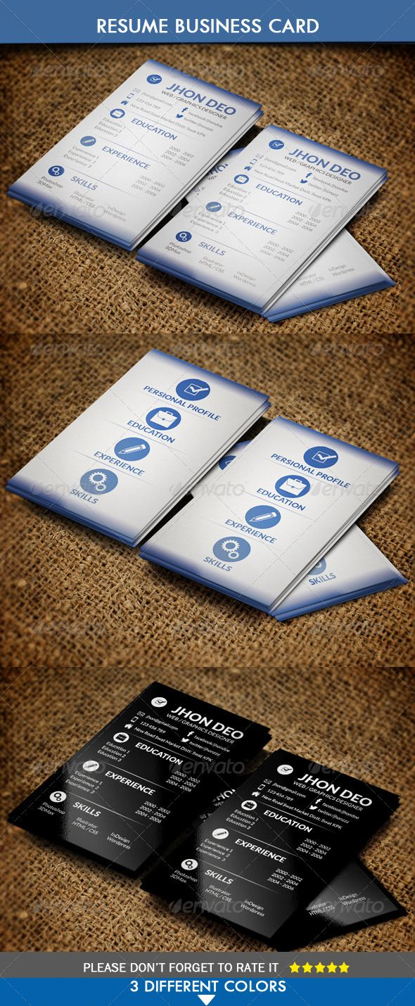 Business Card Resume Style  #GraphicRiver