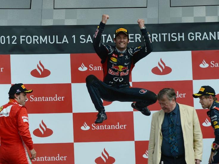 British GP - Sunday Pics  Webber jumps for joy