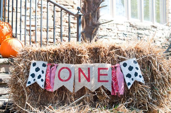 Barn Theme One Banner Cow Print One Burlap Banner by SwankyBurlap