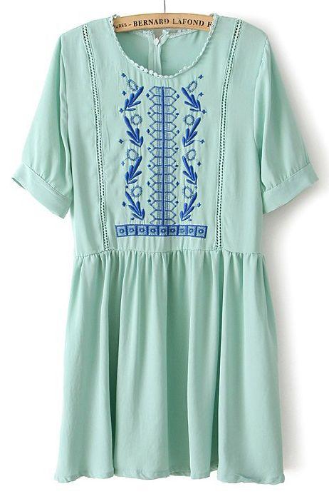 Green Short Sleeve Embroidery Zipper Chiffon Dress - Sheinside.com