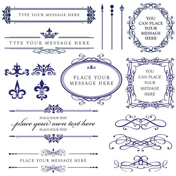 Calligraphy Vintage Clip Art ROYAL BLUE Clipart DIY Wedding Cards Design Photographer Embellishment Oval Frames Digital Downloads 10431. $6.50, via Etsy.