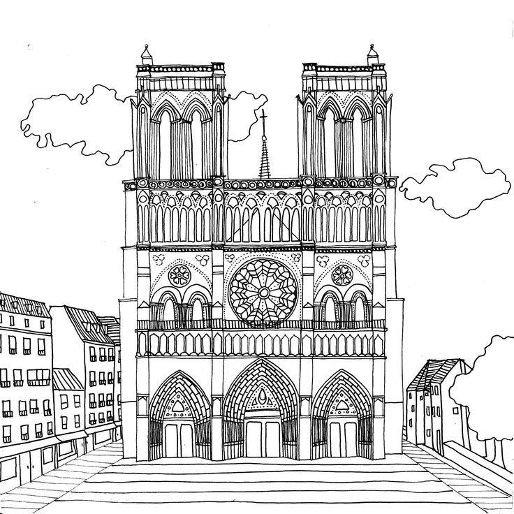 Notre Dame De Paris Par Chocobo Katelyn Ly Paris Drawing Architecture Drawing Coloring Pages
