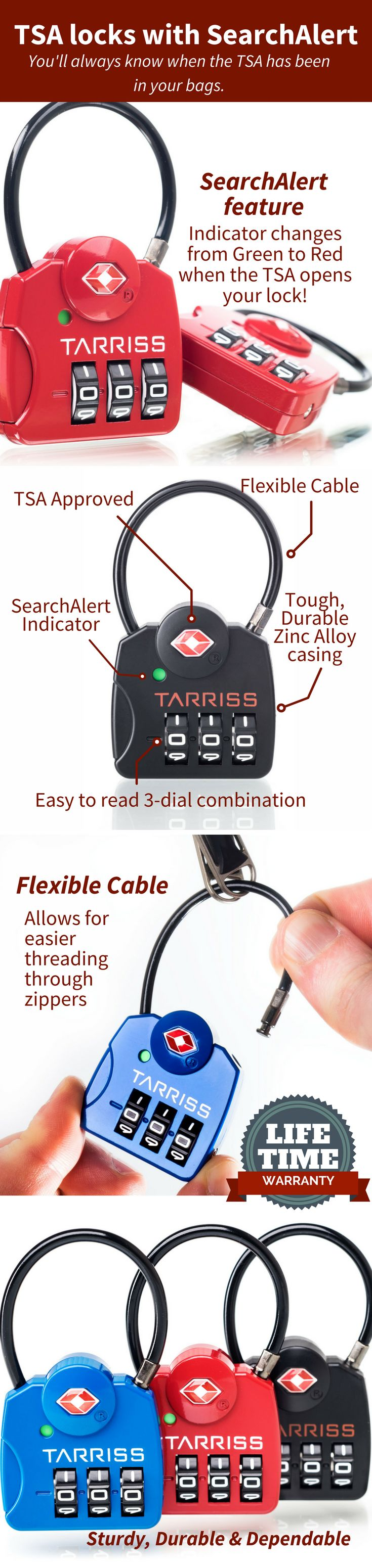 Secure you luggage! These Locks are recognized and accepted by TSA agents. With Search Alert feature, Easy to read 3 dial combination, flexible cable. These TSA locks are sturdy, durable and dependable. Comes in a set of 2. Also available in red and blue.