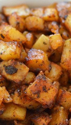 """My Favorite Roasted Potatoes"": Crispy on the outside & creamy inside. Easy to throw together & bake."