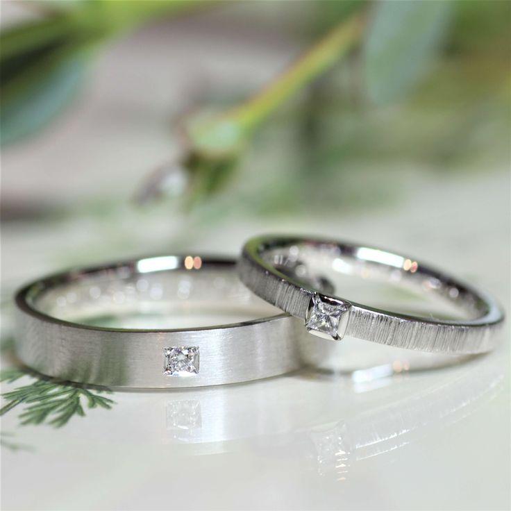 """全く異なるデザインでも、ダイヤモンドの留め方ひとつで """"ペア感"""" を感じることのできる結婚指輪に☆  [marriage,wedding,ring,bridal,Pt900,プラチナ,マリッジリング,結婚指輪,オーダーメイド,ウエディング,ith,イズマリッジ]"""