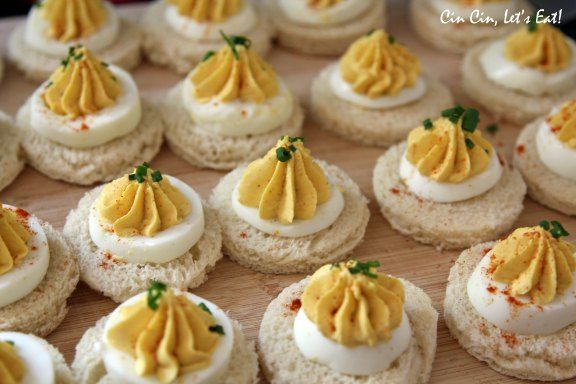 For the Garden Party | Deviled Egg Tea Sandwich, Open Faced | I would go with the original recipe and use very finely diced shallots rather than onion powder; they won't clog the tip and the taste doesn't compare. | These are a neat twist on egg salad sandwiches or traditional deviled eggs :)