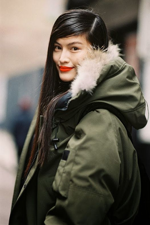 New York Fashion Week AW 2013....Sui He - Vanessa Jackman: Fashion Weeks, New York Fashion Week, Street Style, Makeup, Red Lips, Beauty, Coat, Parka